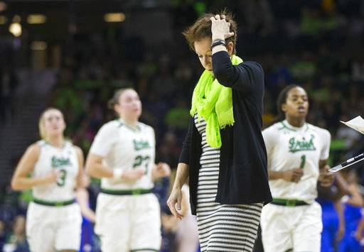 Notre Dame head coach Muffet McGraw reacts after her team falls behind to DePaul during the second half of an NCAA college basketball game Sunday, Dec. 17, 2017, in South Bend, Ind. Notre Dame won 91-82.