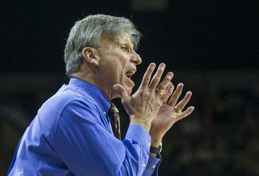 DePaul head coach Doug Bruno yells to players during the second half of an NCAA college basketball game against Notre Dame Sunday, Dec. 17, 2017, in South Bend, Ind. Notre Dame won 91-82.