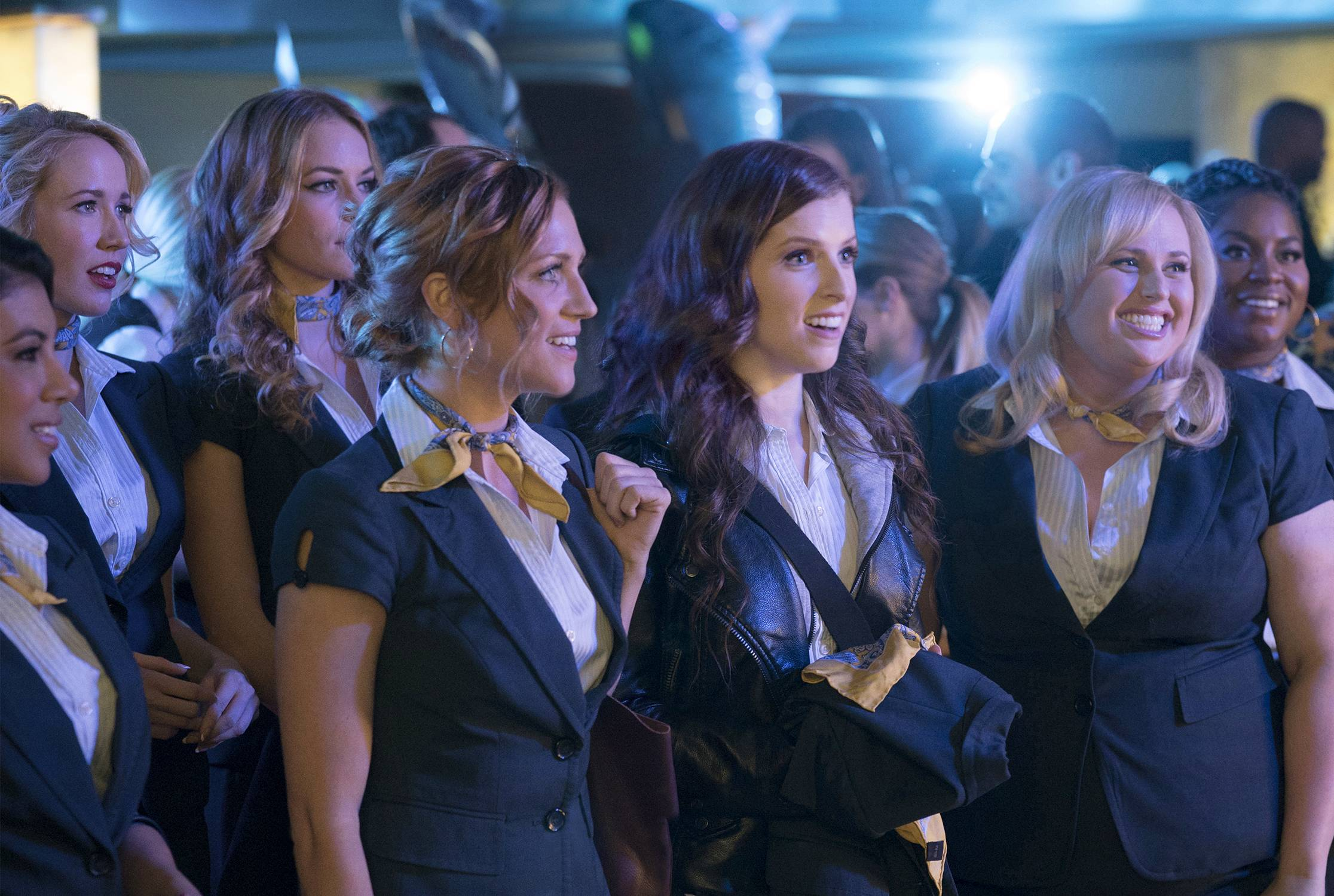 "Flo (Chrissie Fit), left, Aubrey (Anna Camp), Stacie (Alexis Knapp), Chloe (Brittany Snow), Beca (Anna Kendrick), Fat Amy (Rebel Wilson) and Cynthia Rose (Ester Dean) return in ""Pitch Perfect 3,"" directed by Trish Sie."