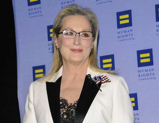 FILE - In this Feb. 11, 2017, file photo, Meryl Streep attends the Human Rights Campaign Greater New York Gala at Waldorf Astoria Hotel in New York. Streep says in a statement Monday, Dec. 18, that she did not know Harvey Weinstein was allegedly harassing and assaulting women when they worked together. (Photo by Christopher Smith/Invision/AP, File)
