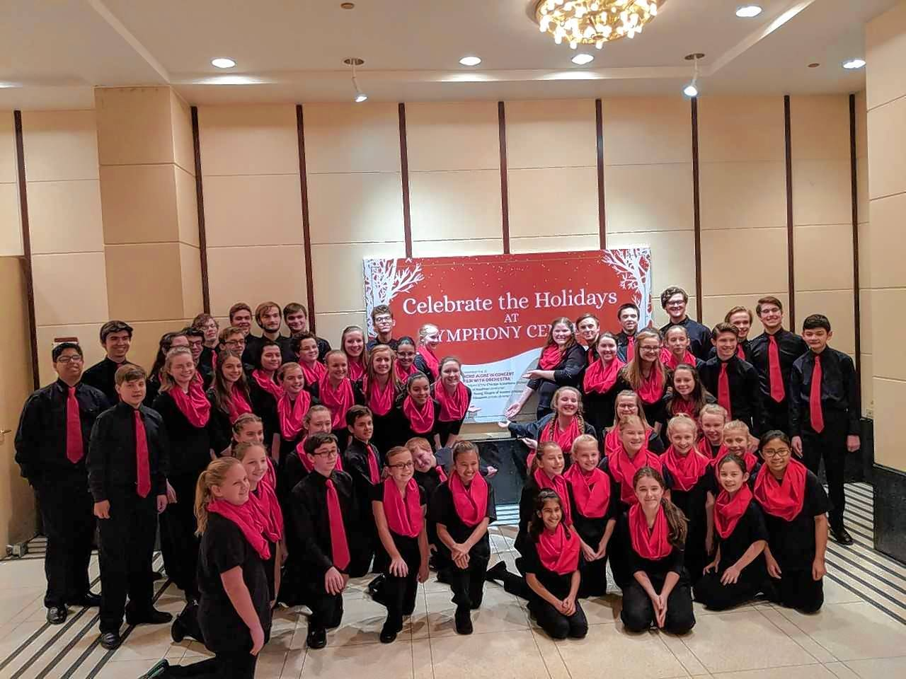 "Members of the Barrington High School choir and Anima Glen Ellyn Children's Chorus recently performed at the Chicago Symphony Orchestra's ""Home Alone"" concerts."