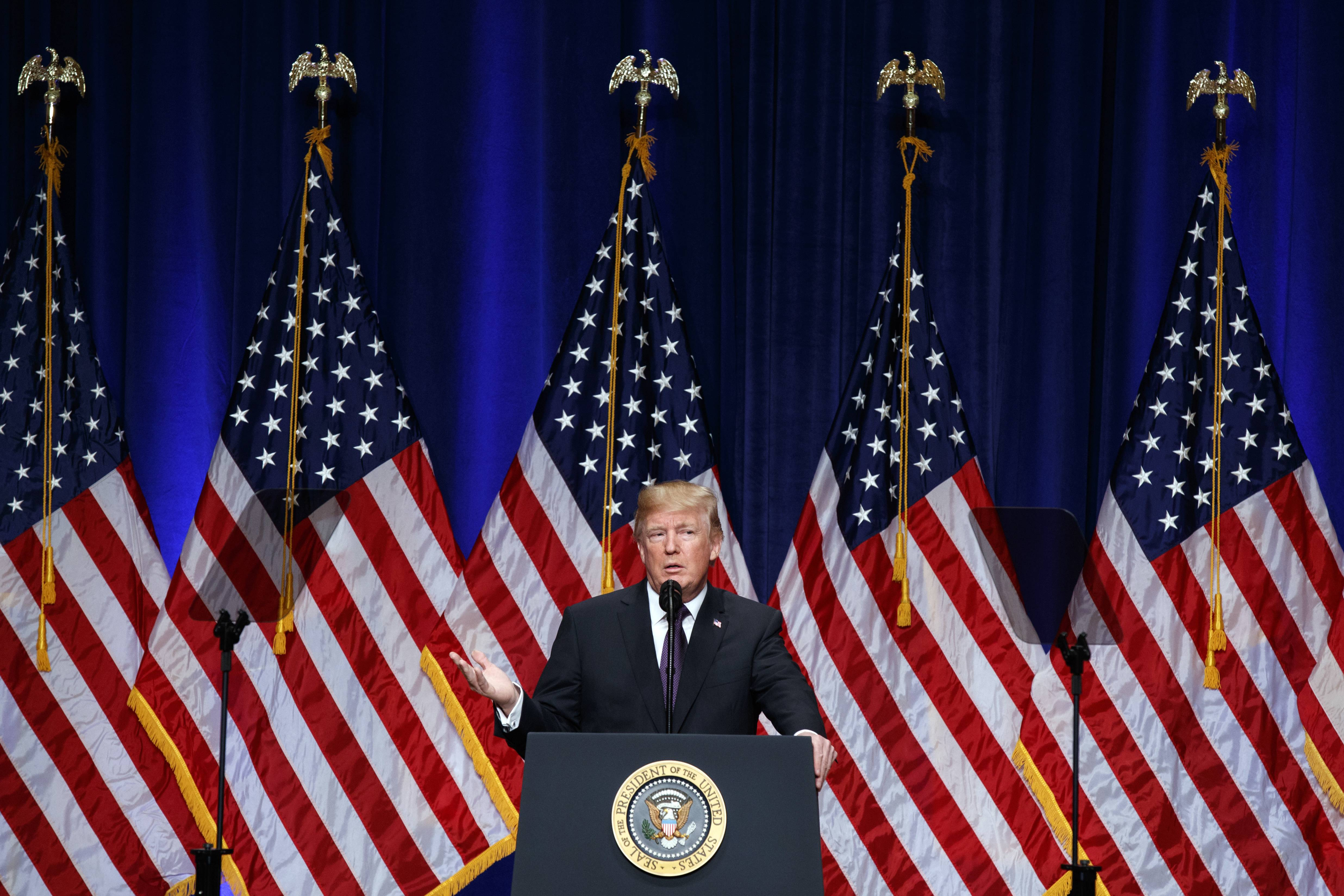 President Donald Trump speaks on his national security strategy, Monday, Dec. 18, 2017, in Washington. (AP Photo/Evan Vucci)