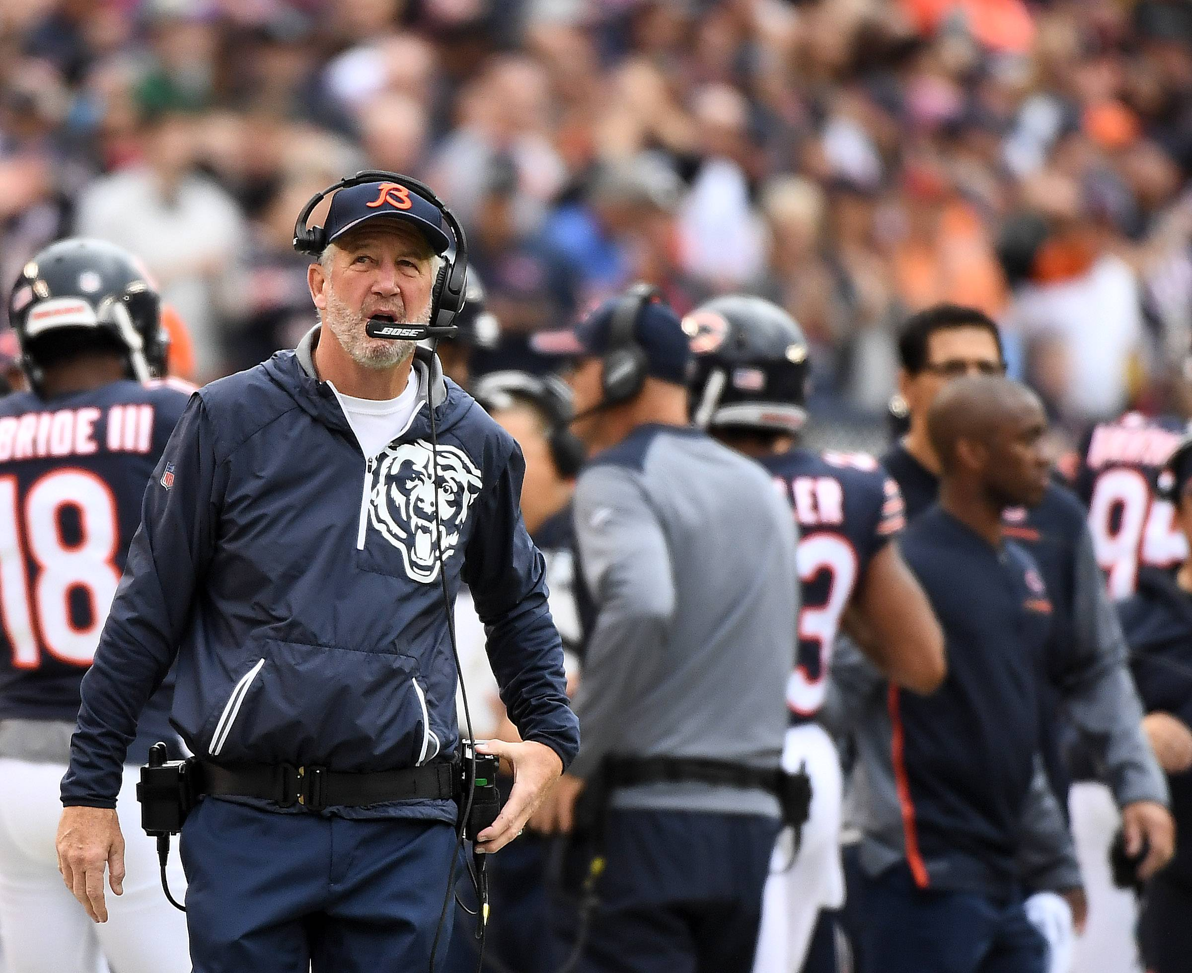 Coach John Fox was asked if playing most of the season with rookie quarterback Mitch Trubisky excuses his team's 4-10 record, but he declined to single anyone out for blame.
