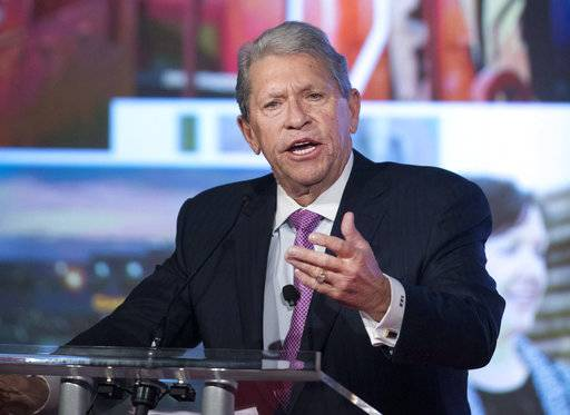 "FILE - In this Thursday, May 14, 2015, file photo, then-Canadian Pacific Railway CEO Hunter Harrison speaks at the company's annual meeting in Calgary, Alberta. Harrison, the president CEO of railroad giant CSX, has died, the company announced Saturday, Dec. 16, 2017. He was 73 years old. CSX confirmed Harrison's death in a statement, saying his death was caused by ""unexpectedly severe complications� from a recent illness. His death comes only a couple days after the company announced he was taking an unplanned medical leave of absence. (Larry MacDougal/The Canadian Press via AP, File)"