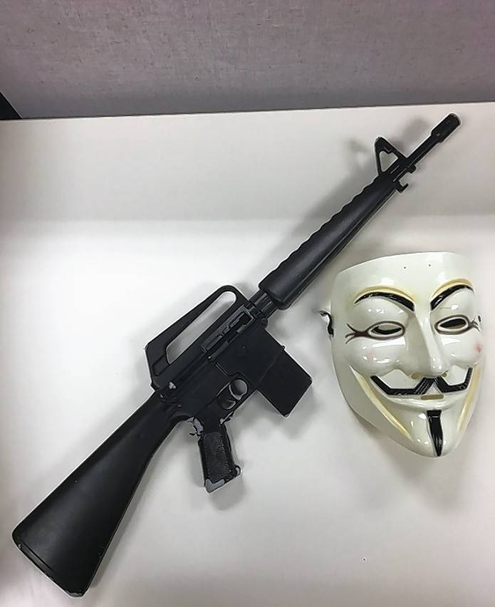 A mask and a replica rifle were recovered by Lake County sheriff's deputies. A teen was taken to a juvenile detention facility after he was accused of pointing the toy rifle at traffic.