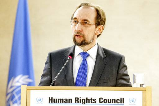 "FILE - In this Feb. 27, 2017 file photo, U.N. High Commissioner for Human Rights, Jordan's Zeid Ra'ad al Hussein, delivers his statement at the Human Rights Council, in Geneva, Switzerland. The U.N. human rights chief says China's Communist Party has taken a ""hostile position� on the universality of human rights, and says ""the rhetoric from the White House� is heading in the same direction. In a broad-ranging interview published Monday Dec. 18, 2017 ,Zeid Ra'ad al-Hussein also told the French Catholic daily La Croix that Europe is facing a ""crisis of identity and integration policy.� (Salvatore Di Nolfi/Keystone via AP.file)"