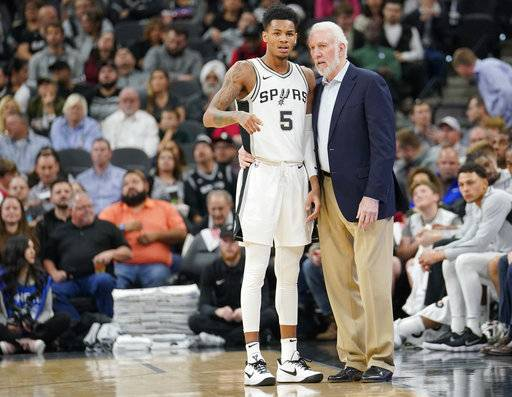San Antonio Spurs head coach Gregg Popovich, right, talks with Spurs guard Dejounte Murray during the first half of an NBA basketball game against the Los Angeles Clippers, Monday, Dec. 18, 2017, in San Antonio. San Antonio won 109-91. (AP Photo/Darren Abate)
