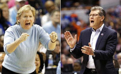 FILE - At left, in a March 6, 2015, file photo, North Carolina coach Sylvia Hatchell shouts to her team during the second half of an NCAA college basketball game against Louisville in the quarterfinals of the Atlantic Coast Conference women's tournament in Greensboro, N.C. At right, in an April 5, 2016, file photo, Connecticut head coach Geno Auriemma yells from the sidelines during the second half of the championship game against Syracuse at the women's Final Four in the NCAA college basketball tournament, in Indianapolis. In an almost unthinkable statistical oddity, Sylvia Hatchell and Geno Auriemma will have the chance to win their 1,000th games on Tuesday, Dec. 19, 2017, joining an elite club. (AP Photo/File)