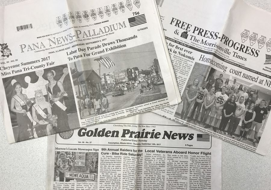 Paddock Publications is nearing a deal to purchase the three newspapers in the Pana News Inc. news group: The Pana News-Palladium in Pana, The Free Press-Progress in Nokomis and the Golden Prairie News in Assumption.