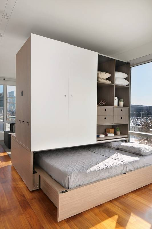 A Bedroom. Ori is a new concept in small space living  robotic furniture system that Push button transform room