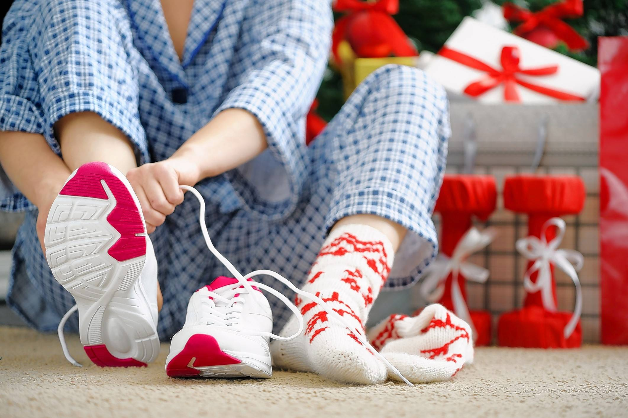 Even if you're traveling over the holidays, you can lace up your shoes and take a walk.