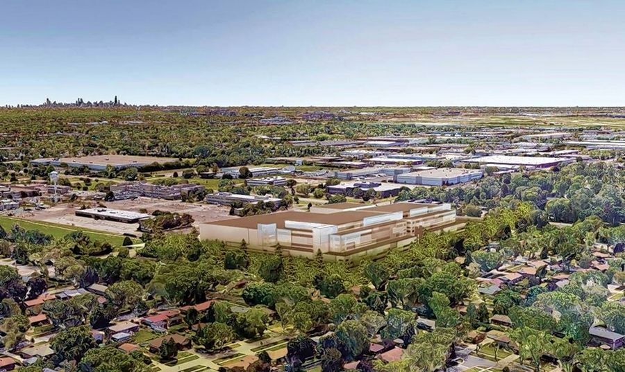 A rendering shows plans for German-based Vetter Pharma to open its U.S. headquarters on the corner of Algonquin and Mount Prospect roads in Des Plaines.