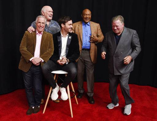"Henry Winkler, left, Terry Bradshaw, Jeff Dye, George Foreman and William Shatner toured across Europe for the NBC reality series ""Better Late Than Never,"" which returns on New Year's Day."