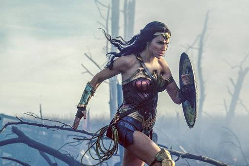 "Wonder Woman (Gal Gadot) charges through No Man's Land during WWI in ""Wonder Woman."""