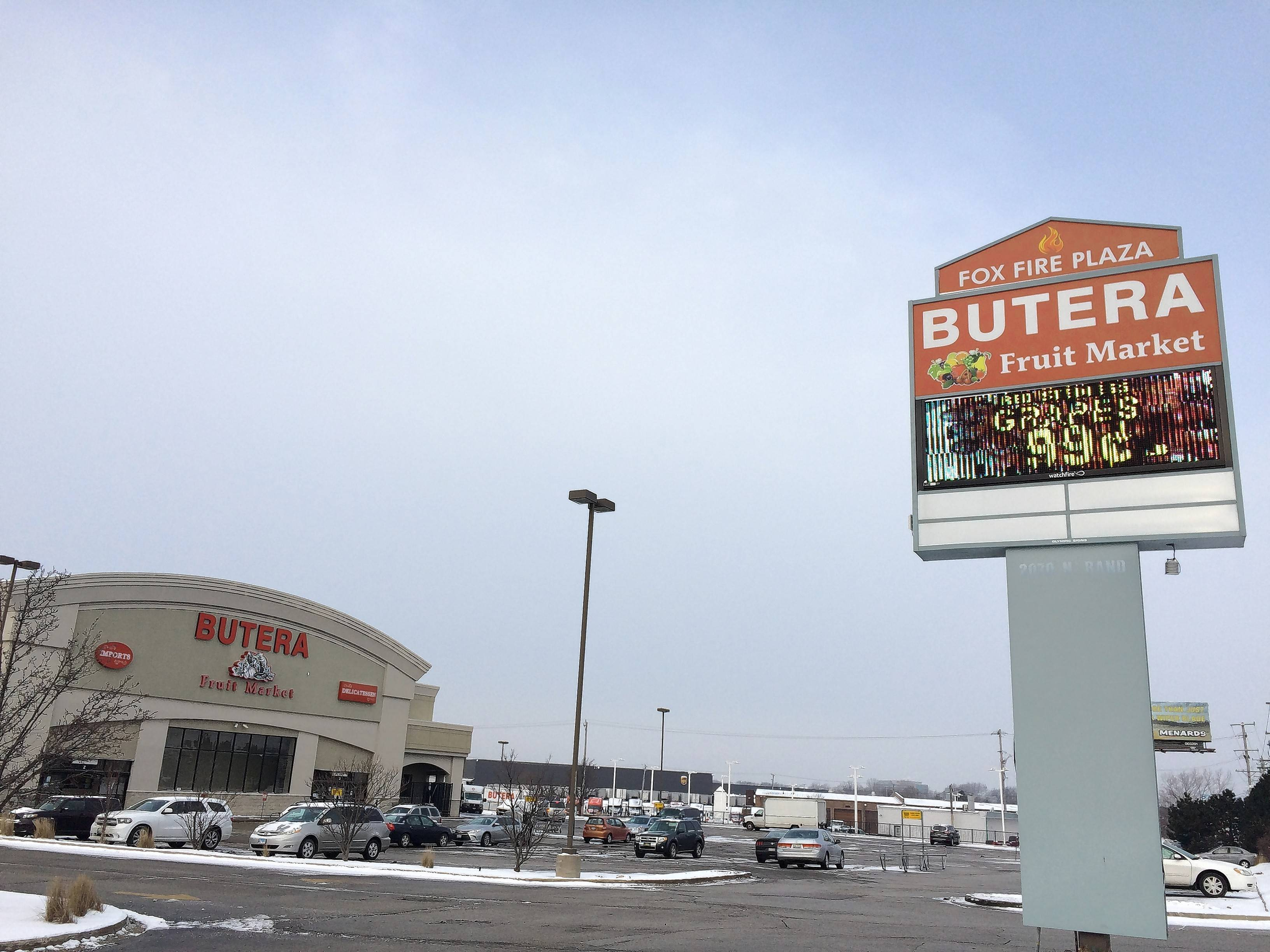 A new electronic message board sign was built at Butera Fruit Market at Rand and Hicks roads in Palatine after a building permit was erroneously granted by the village earlier this year. The Palatine village council recently approved a special-use permit that Butera needed for the sign.