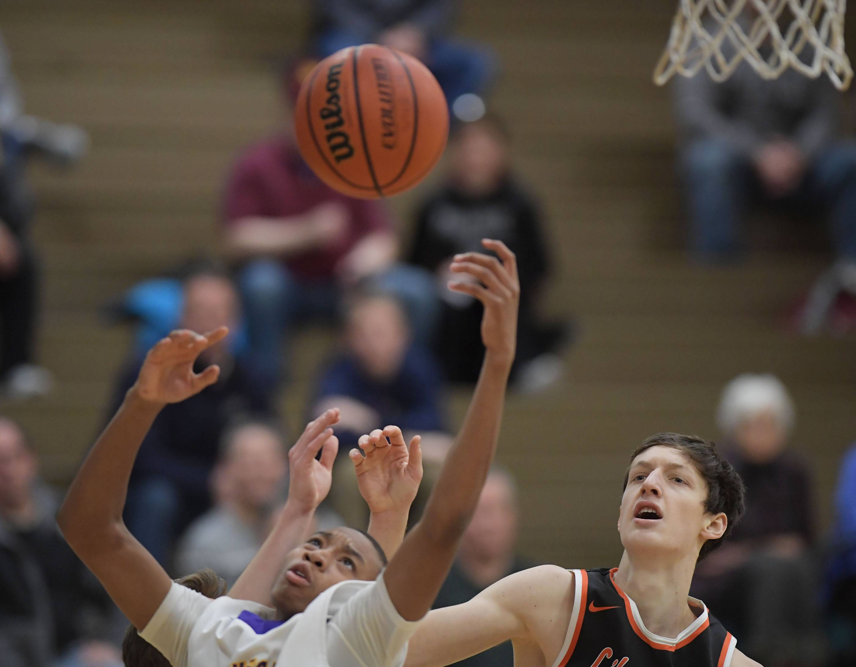Waukegan's Eric Doyne and Libertyville's Drew Peterson battle for a rebound Friday in Wheeling.