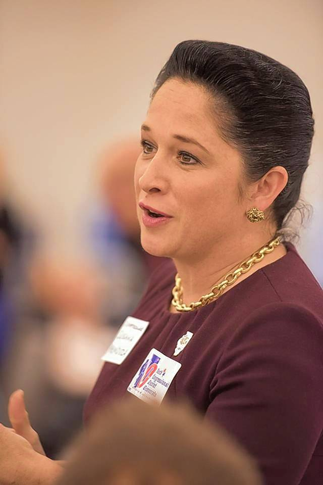 Illinois Comptroller Susana Mendoza speaks to the crowd after receiving the Mikva Leadership Award during the annual awards dinner hosted by the Tenth Congressional District Democrats.