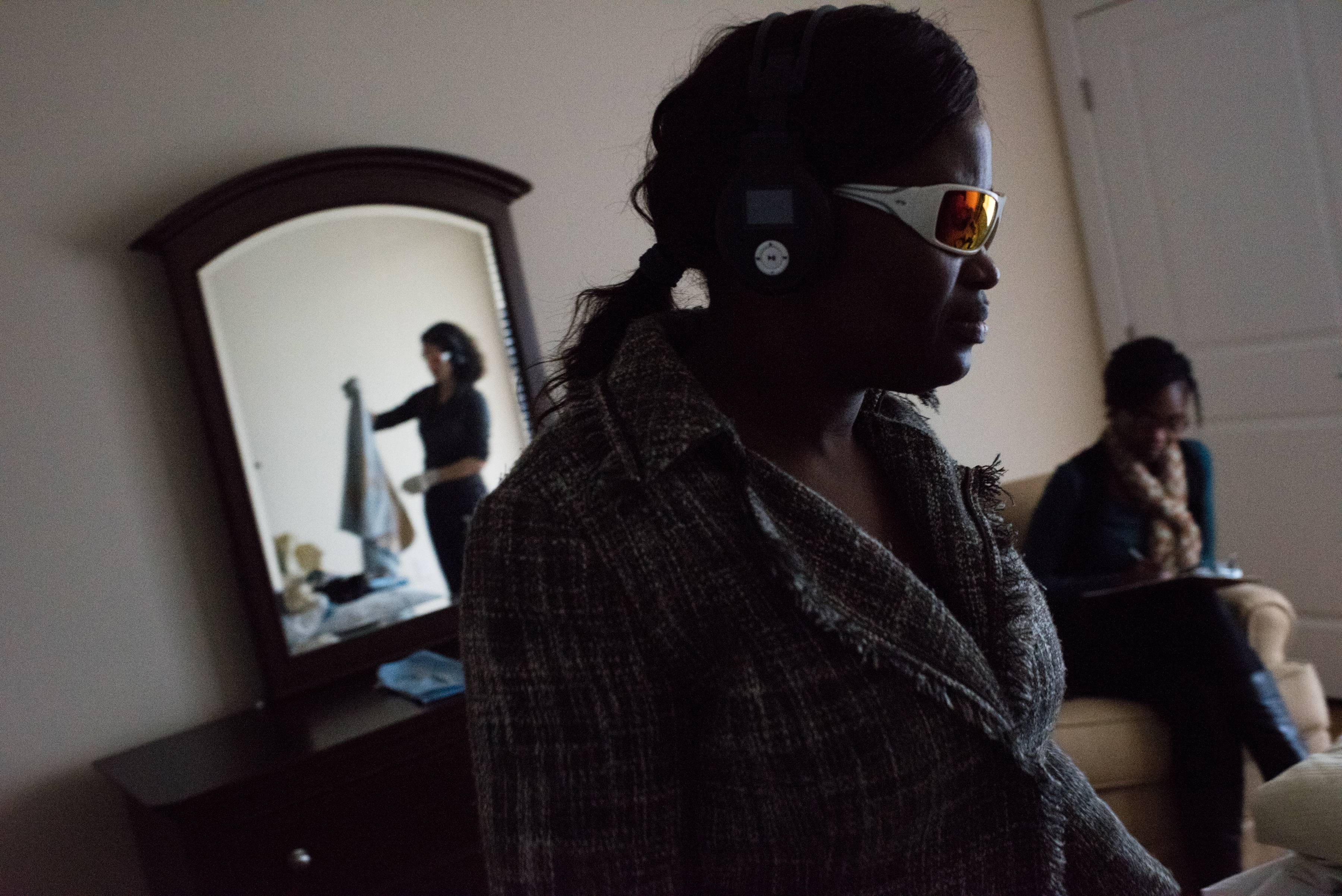 Matilda Kamara, a resident assistant at Brightview West End in Rockville, Maryland, participates in a tour that simulates the experiences of someone living with dementia.