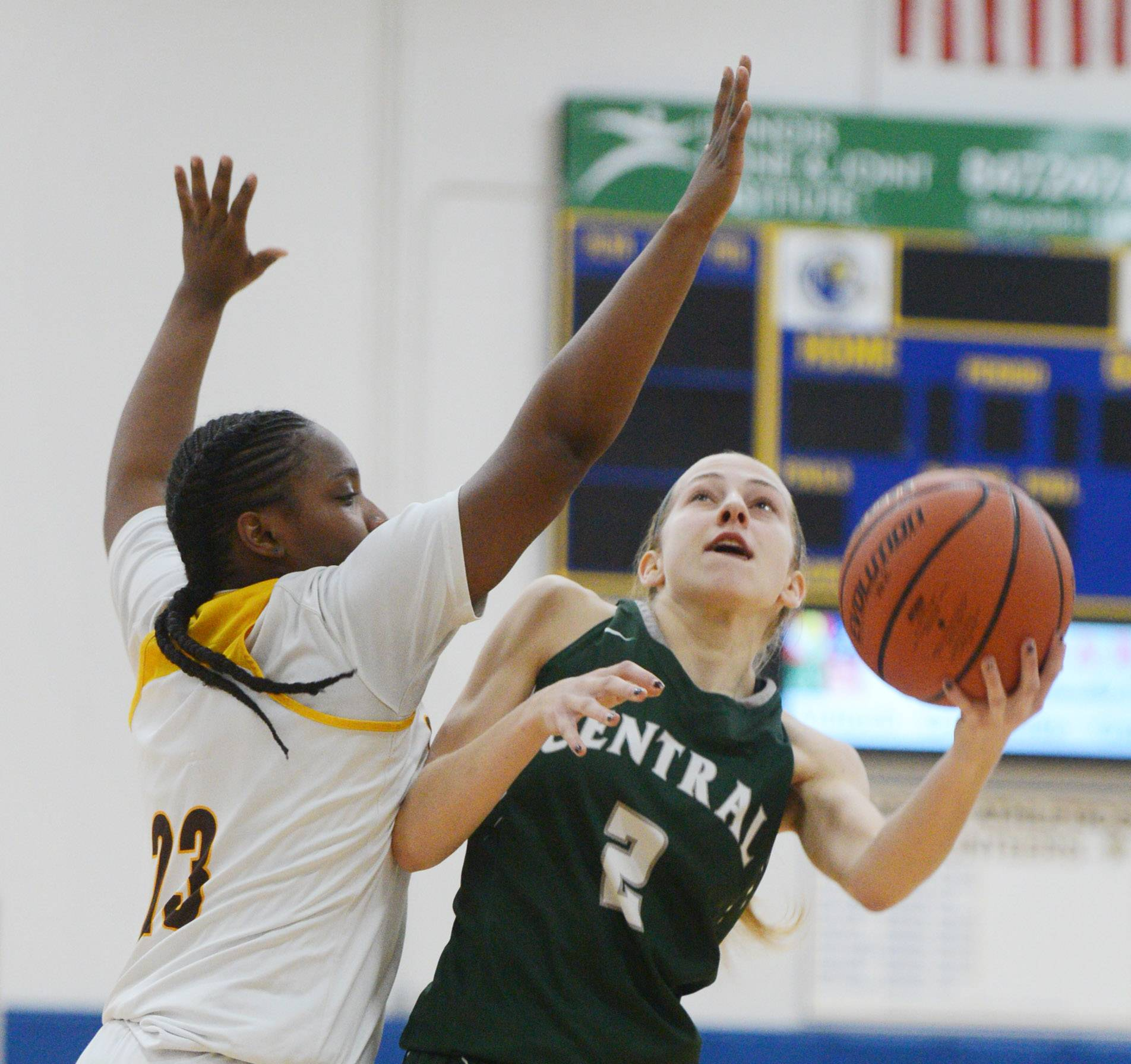 Grayslake Central's Maura Fitzgerald attempts a shot against Carmel defender Ranya Jamison during Warren Blue Devils Classic action in Gurnee on Saturday.