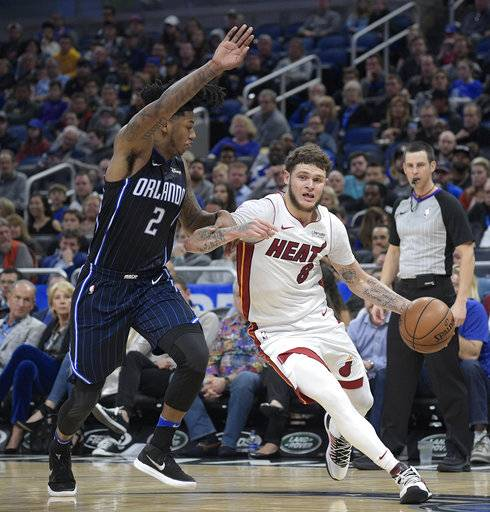 Miami Heat guard Tyler Johnson (8) drives to the basket in front of Orlando Magic guard Elfrid Payton (2) during the second half of an NBA basketball game Saturday, Dec. 30, 2017, in Orlando, Fla. (AP Photo/Phelan M. Ebenhack)