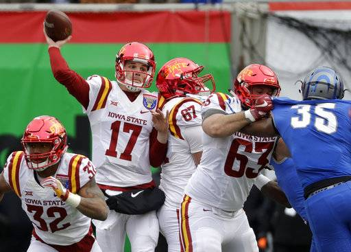 Iowa State quarterback Kyle Kempt (17) passes against Memphis in the first half of the Liberty Bowl NCAA college football game Saturday, Dec. 30, 2017, in Memphis, Tenn. (AP Photo/Mark Humphrey)