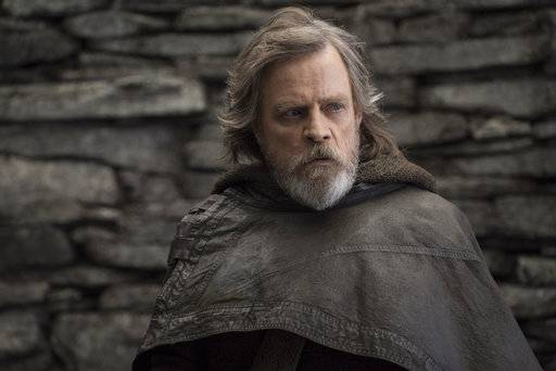 "FILE - This file image released by Lucasfilm shows Mark Hamill as Luke Skywalker in ""Star Wars: The Last Jedi."" On the last day of the calendar year, ""Star Wars: The Last Jedi� has surpassed ""Beauty and the Beast� as the top grossing film in North America in 2017.  (John Wilson/Lucasfilm via AP, File)"