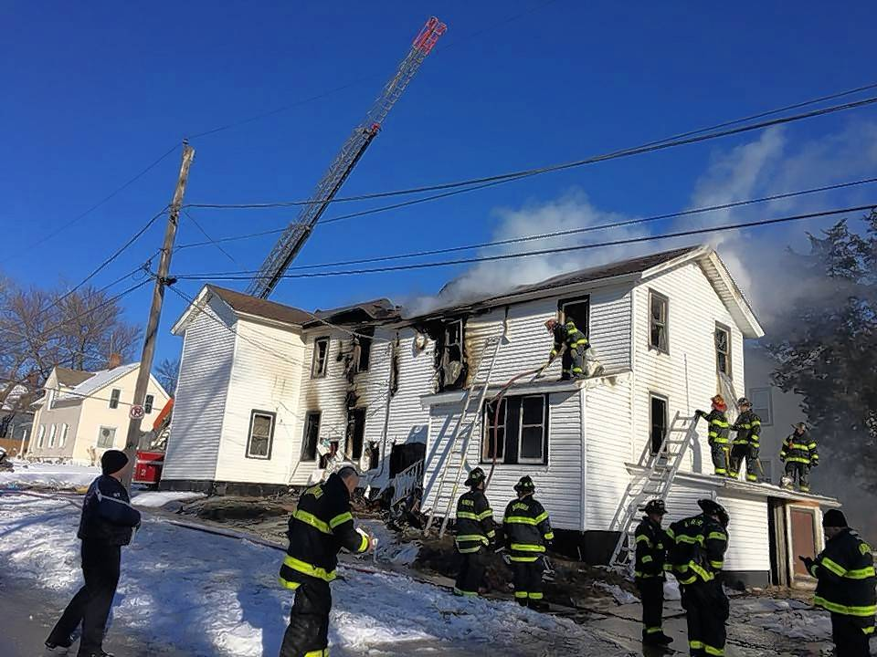 An Aurora firefighter was injured Sunday battling a blaze in the 400 block of Pierce Street. The fire began when a resident attempted to use a propane heater to thaw frozen pipes.
