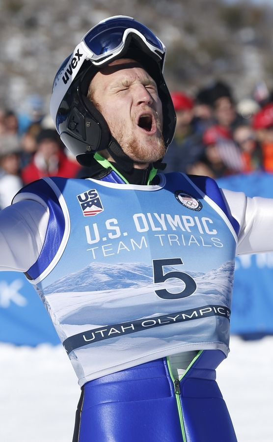 Michael Glasder (5) celebrates after winning the men's ski jumping event at the U.S. Olympic Team Trials, Sunday, Dec. 31, 2017, in Park City, Utah. Glasder qualified for the Olympic team.
