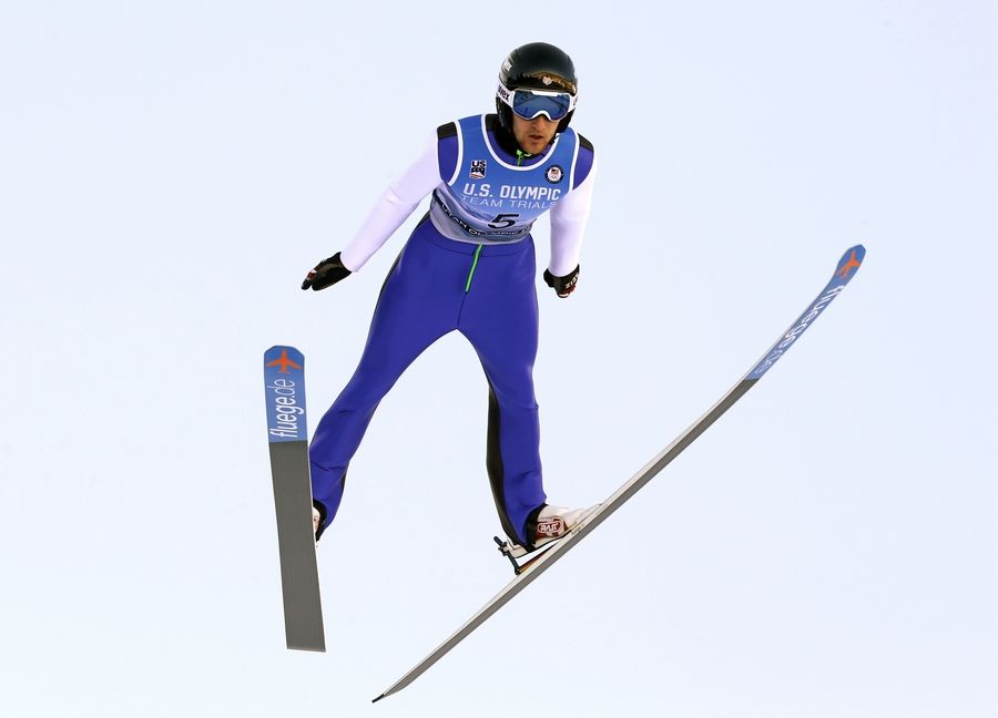 Michael Glasder competes during men's ski jumping event at the U.S. Olympic Team Trials Sunday in Park City, Utah. Glasder qualified for the Olympic team.