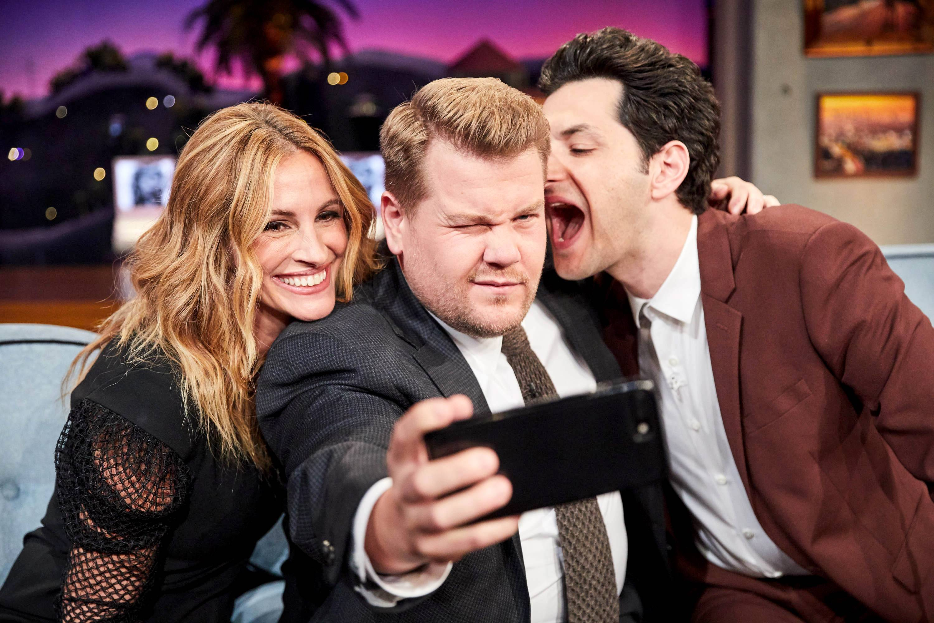 "Julia Roberts and Ben Schwartz (right) chat with James Corden during ""The Late Late Show With James Corden."""