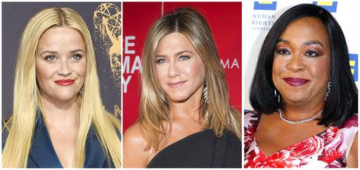Reese Witherspoon, left, Jennifer Aniston  and Shonda Rhimes are among hundreds of Hollywood women who have formed an anti-harassment coalition called Time's Up.