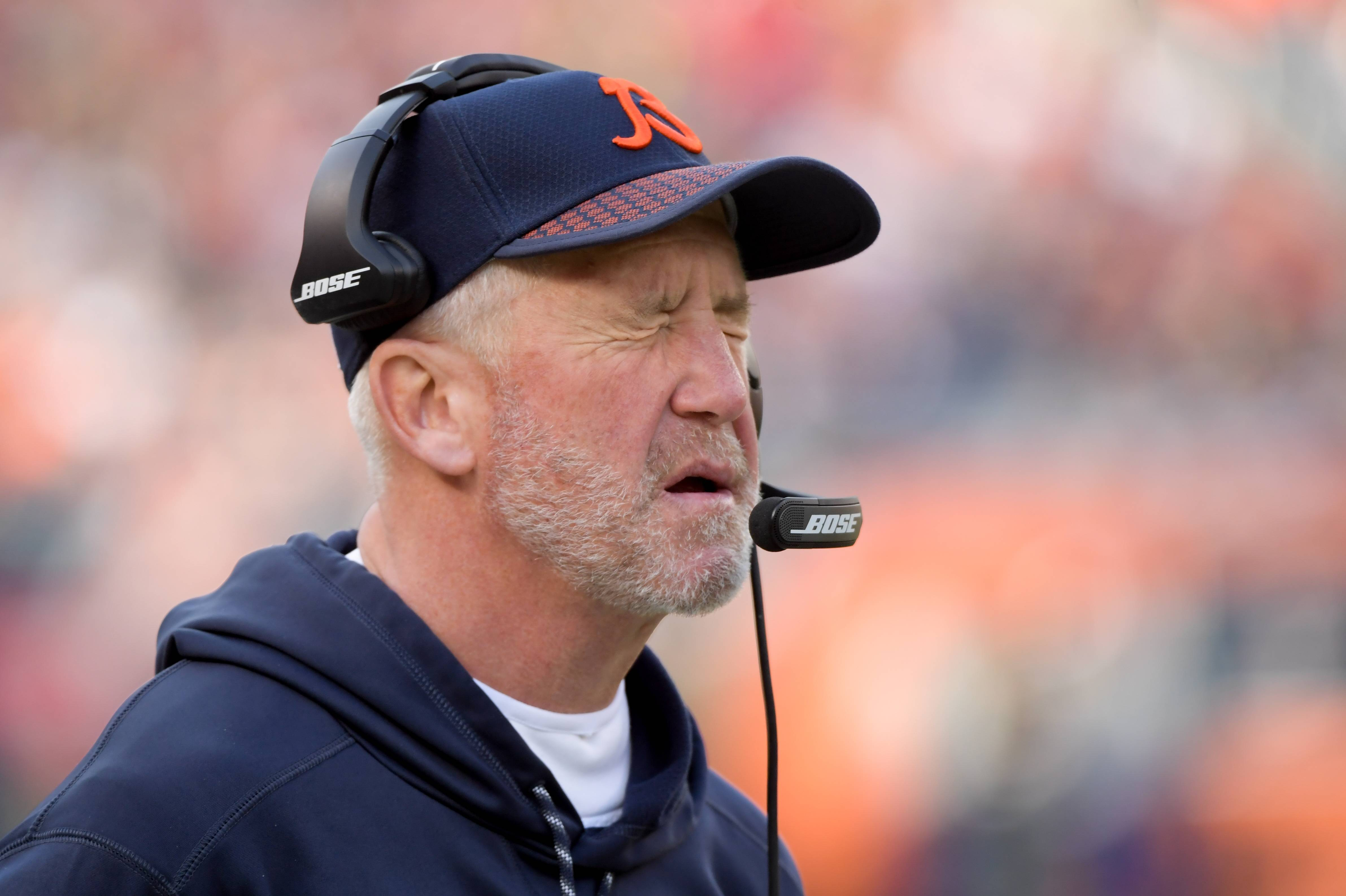 Chicago Bears head coach John Fox squints his eyes hard during a loss in 2017. The Bears fired Fox Monday.