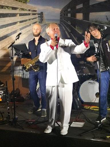 "In a Dec. 7, 2017 photo, Jan Lewandowski, better known as Jan Lewan, performs at a show in Jensen Beach, Fla. Lewandowski's rise and fall is the subject of ""The Polka King,� a comedy starring Jack Black as the polka bandleader convicted of fleecing fans of millions of dollars. (John Koterba via AP)"