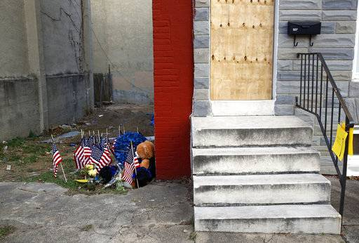 FILE - In this Nov. 27, 2017, file photo, a makeshift memorial sits in an alley where Baltimore Police Detective Sean Suiter was shot while investigating a 2016 triple homicide in Baltimore. In another grim year for murders in Baltimore, the city breaks its per-capita annual homicide record in 2017. (AP Photo/Patrick Semansky, File)