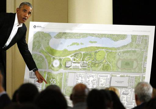 FILE - In this May 3, 2017, file photo, former President Barack Obama speaks at a community event on the Presidential Center at the South Shore Cultural Center in Chicago. Construction is expected to start in 2018 on Barack Obama's presidential center in Chicago. The former president used his first public appearances since leaving the White House to visit his hometown several times in 2017 and reveal post-presidency plans to work with young people and details about the center. (AP Photo/Nam Y. Huh, File)