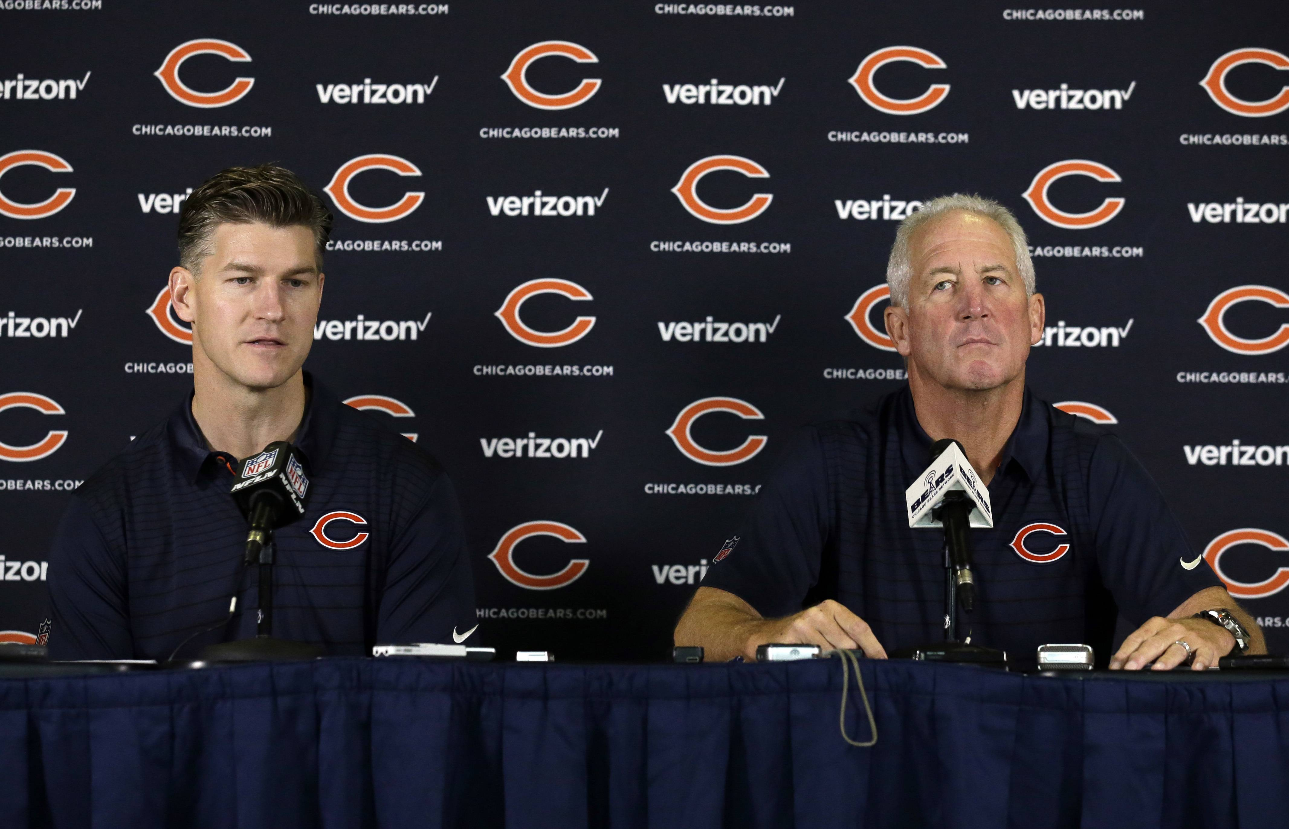 Chicago Bears general manager Ryan Pace, left, and head coach John Fox listen to questions during an NFL football training camp in Bourbonnais, Ill., Wednesday, July 26, 2017.