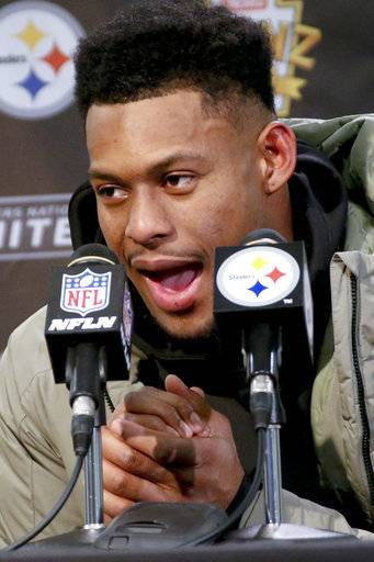 Pittsburgh Steelers wide receiver JuJu Smith-Schuster talks about making a snowball during an NFL football game, at news conference after the game against the Cleveland Browns, Sunday, Dec. 31, 2017, in Pittsburgh. (AP Photo/Keith Srakocic)