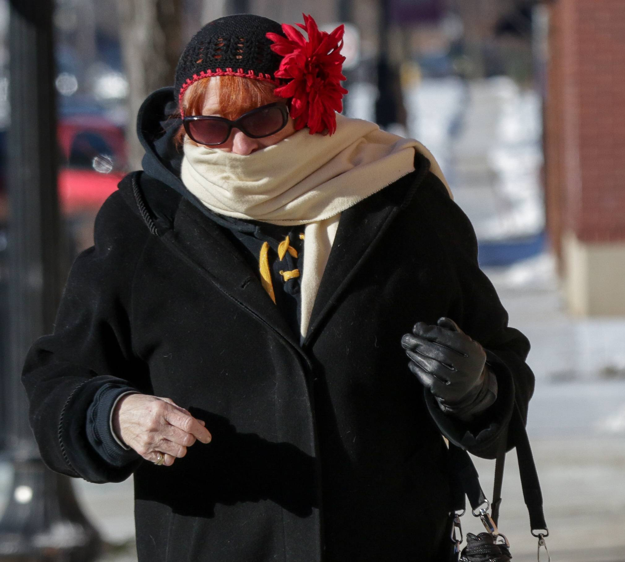 "Dennie Flynn of Wheaton makes her way downtown during subzero temperatures on Tuesday. ""I find everything you can find to layer and that makes it easier,"" she said of dealing with the cold."