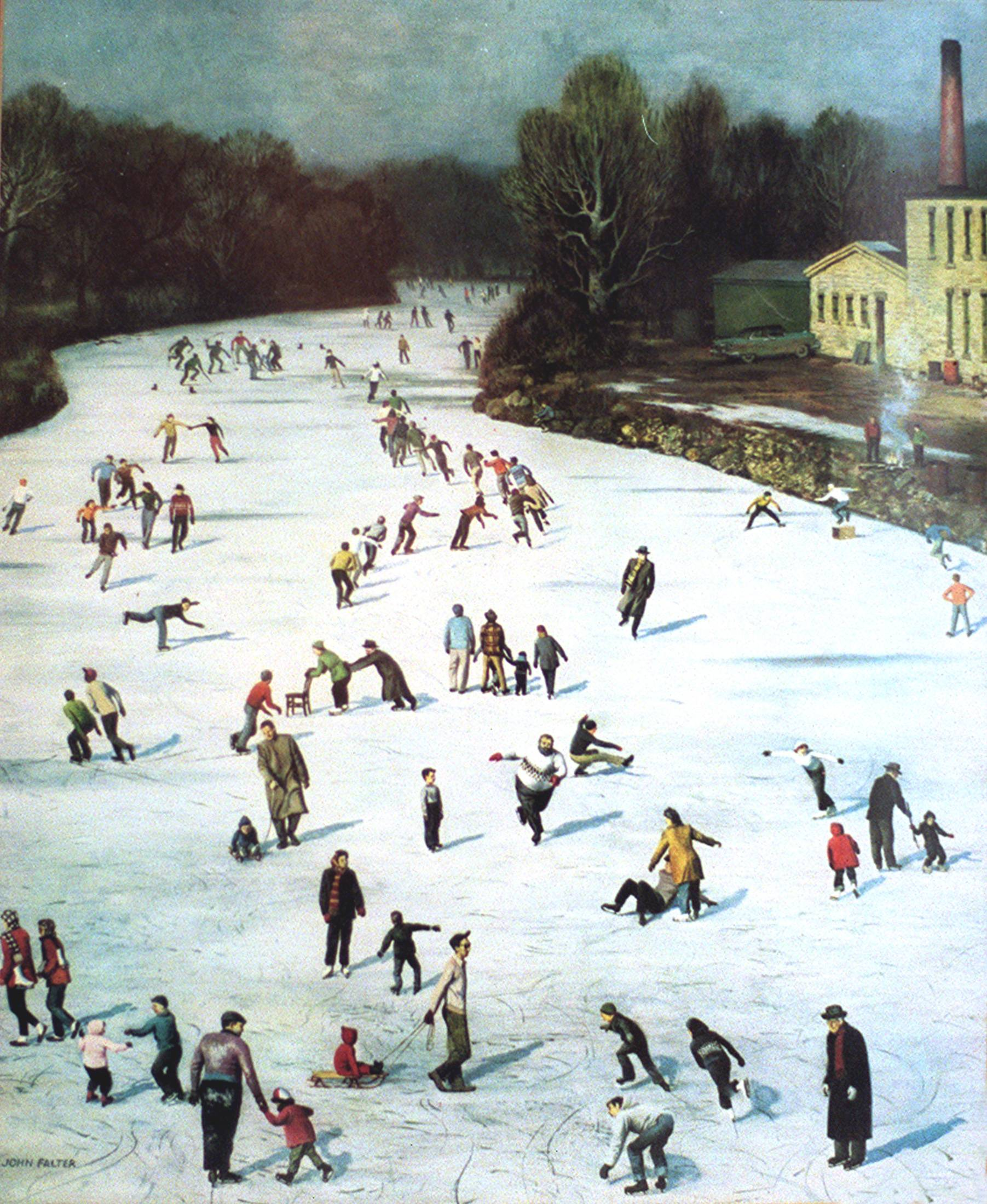 This painting of skaters on the Fox River in Batavia by John Falter appeared on the cover of the Saturday Evening Post on Jan. 11, 1958. A celebration of the 60th anniversary of the cover will be held on Saturday, Jan. 6.