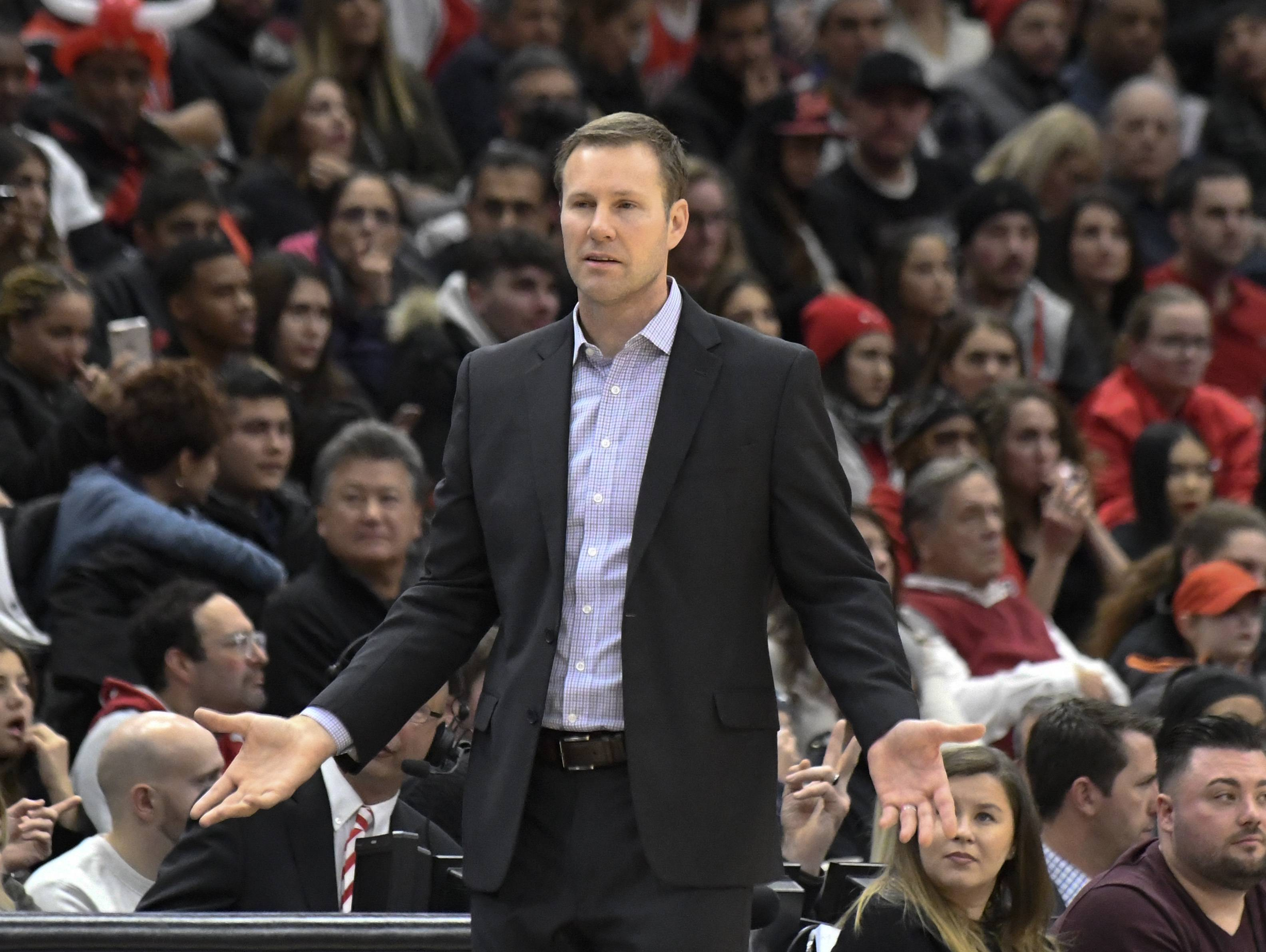 Chicago Bulls head coach Fred Hoiberg questions a call during the second half of an NBA basketball game, Monday, Jan. 1, 2018, in Chicago. The Trail Blazers won 124-120 in overtime. (AP Photo/David Banks)