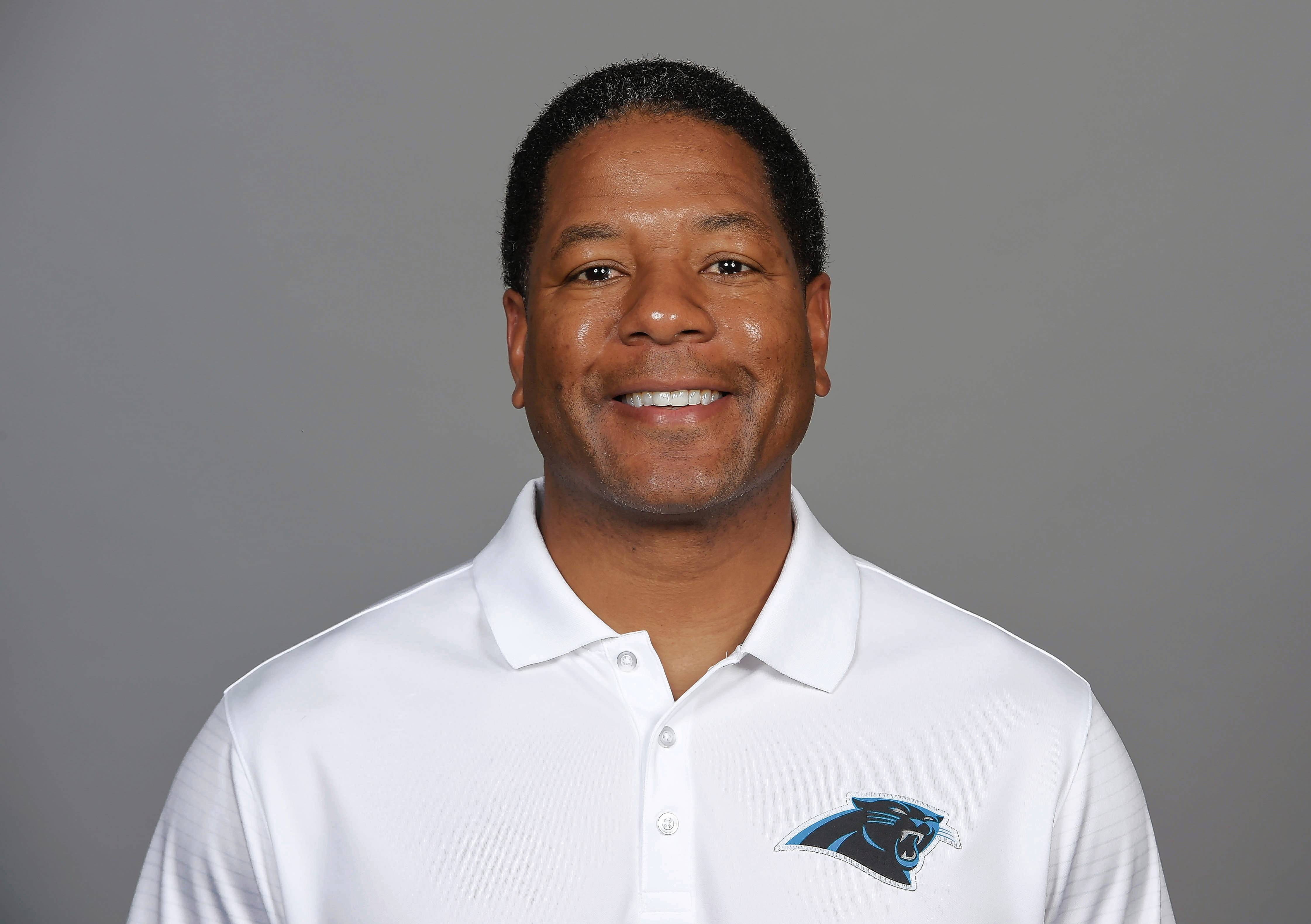 FILE -- This is a 2016, file photo showing Steve Wilks of the Carolina Panthers NFL football team. Ron Rivera announced he has promoted Steve Wilks as the Panthers new defensive coordinator.  Wilks has served as the Panthers defensive backs coach since 2012 and was given the additional title of assistant head coach by Rivera in 2015. He replaces Sean McDermott, who was hired as the Buffalo Bills head coach earlier this week