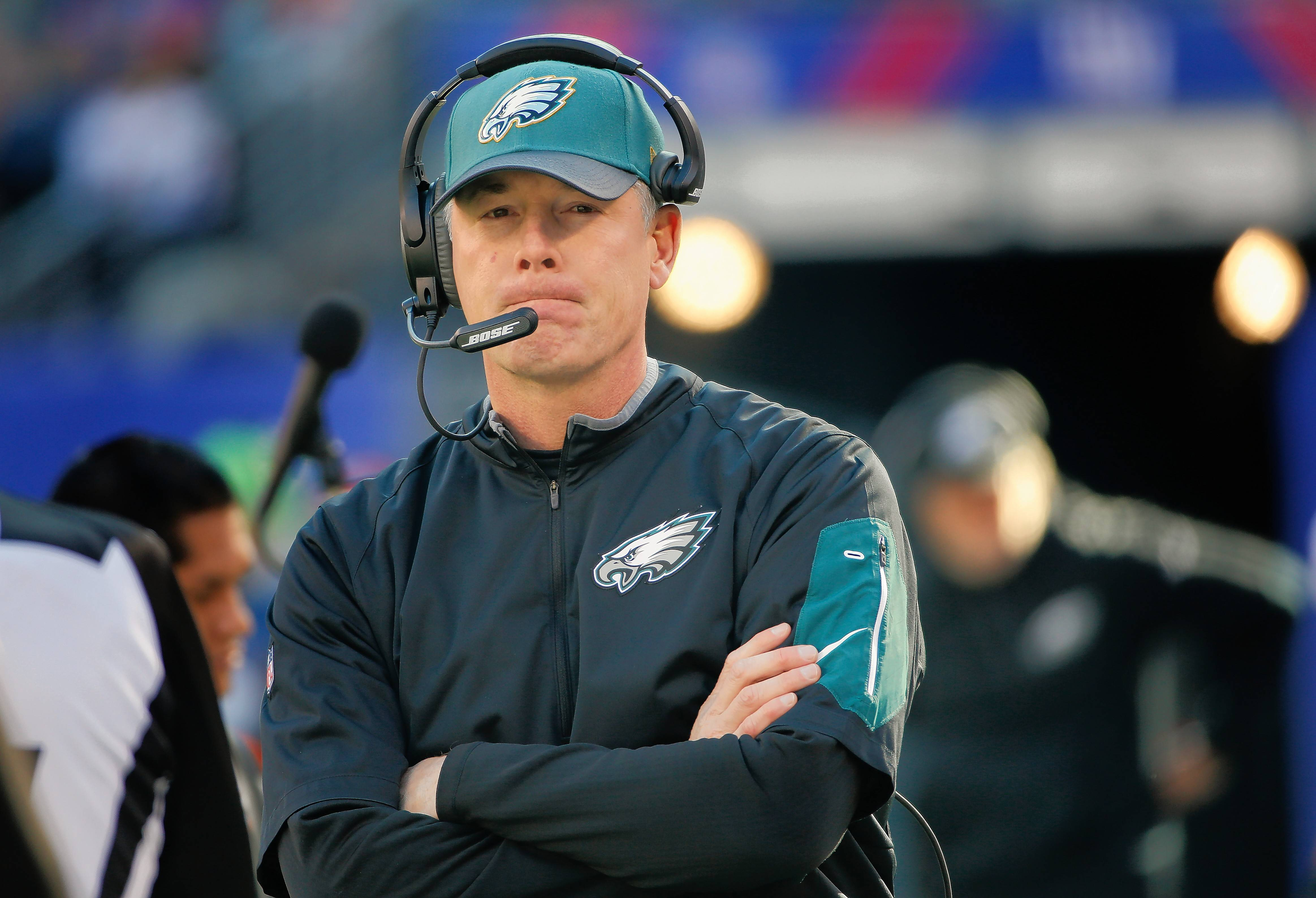 FILE -- In this Jan. 3, 2016, file photo, Philadelphia Eagles interim head coach Pat Shurmur watches play from the sidelines during an NFL football game against the New York Giants, in East Rutherford, N.J. Shurmur is interviewing for the coaching vacancy after leading the team to a season-ending win as interim coach.