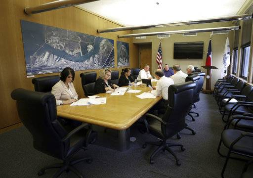 Port of Galveston officials hold a finance meeting Thursday, Dec. 21, 2017. When Rodger Rees arrives as the Port of Galveston's new director this month, he'll be greeted by a board and a community with high expectations he'll shape a broad vision for the public docks. But his first concern must be in the fine details, several wharves board trustees said.  (Kelsey Walling /The Galveston County Daily News via AP)