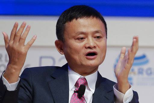 FILE - In this Dec. 12, 2017, file photo, Jack Ma, chairman of Alibaba Group, talks at the business forum of the 11th Ministerial Conference of the World Trade Organization in Buenos Aires, Argentina. Money transfer company MoneyGram says Tuesday, Jan. 2, 2018, its proposed acquisition by Chinese billionaire Ma's Ant Financial Services Group has been called off after a U.S. government security panel rejected the $1.2 billion deal. (AP Photo/Natacha Pisarenko, File)
