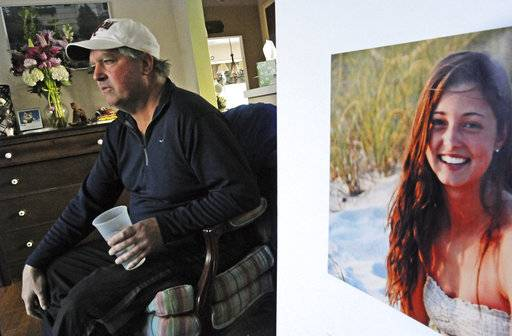 FILE - In this Jan. 23, 2014 file photo, James Holleran, father of Madison Holleran, a University of Pennsylvania freshman who took her own life, talks about his daughter while sitting next to a favorite photo of her at his home in Allendale, N.J. Nearly half of the largest U.S. public universities do not track suicides among their students, despite making investments in prevention at a time of surging demand for mental health services. After her 2014 suicide, one of her former teachers in New Jersey was surprised to learn learn many universities don't report suicide statistics. (April Saul/The Philadelphia Inquirer via AP, File) The Associated Press