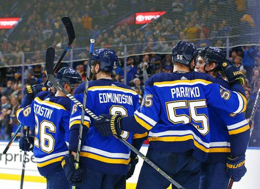 St. Louis Blues' Tage Thompson, right, is congratulated by teammates Colton Parayko, Joel Edmundson, and Paul Stastny after scoring a goal against the New Jersey Devils during the second period of an NHL hockey game Tuesday, Jan. 2, 2018, in St. Louis.