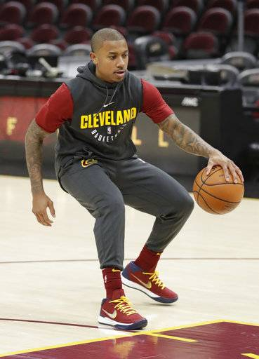 Cleveland Cavaliers' Isaiah Thomas warms up before an NBA basketball game between the Portland Trail Blazers and the Cleveland Cavaliers, Tuesday, Jan. 2, 2018, in Cleveland. (AP Photo/Tony Dejak)