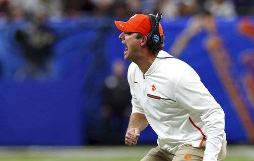 Clemson head coach Dabo Swinney yells out from the sideline in the second half of the Sugar Bowl semi-final playoff game against Alabama for the NCAA college football national championship, in New Orleans, Monday, Jan. 1, 2018. (AP Photo/Rusty Costanza)
