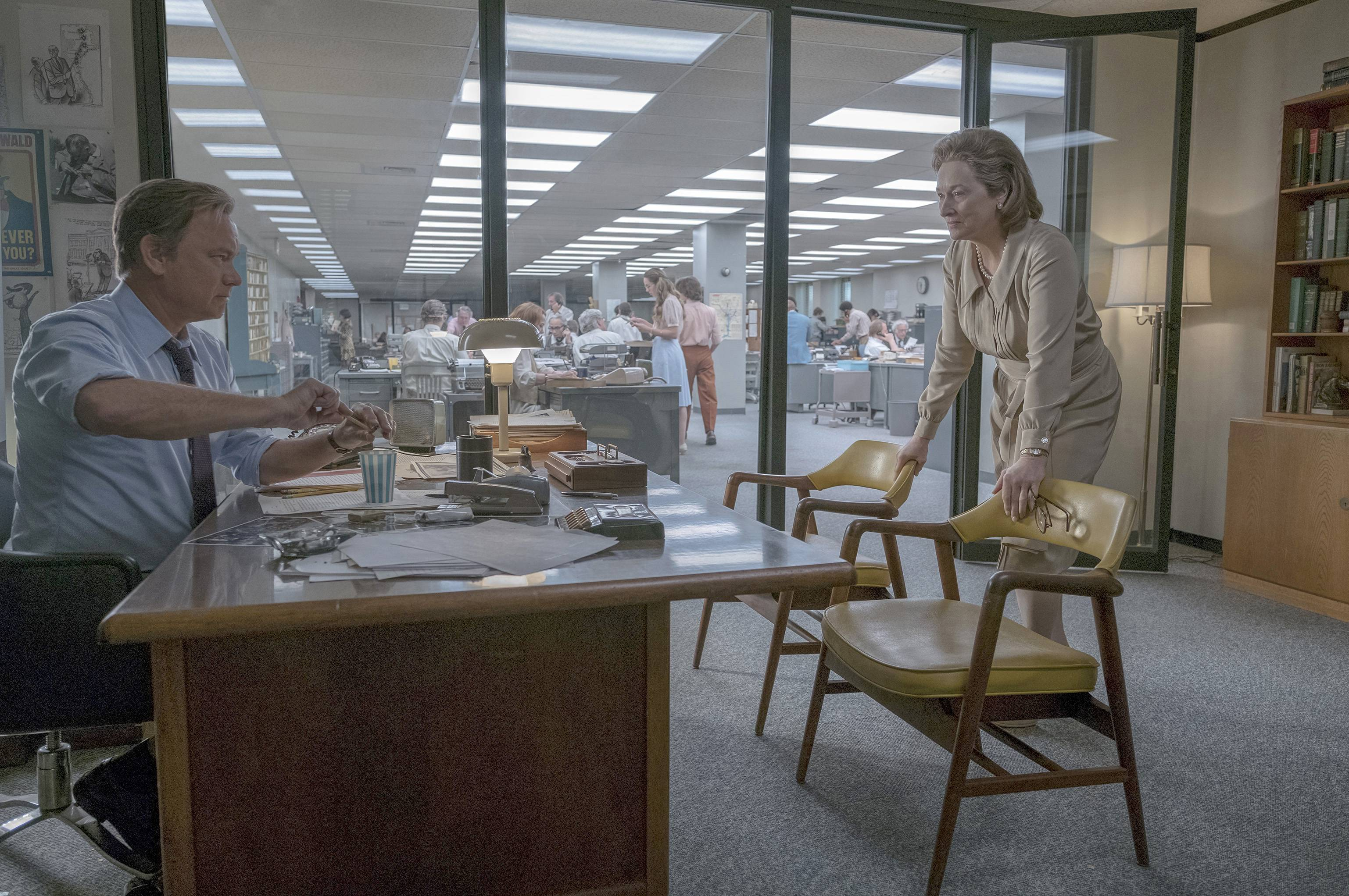 "Washington Post editor Ben Bradlee (Tom Hanks) jousts with publisher Katharine Graham (Meryl Streep) in Steven Spielberg's fact-based drama ""The Post."""
