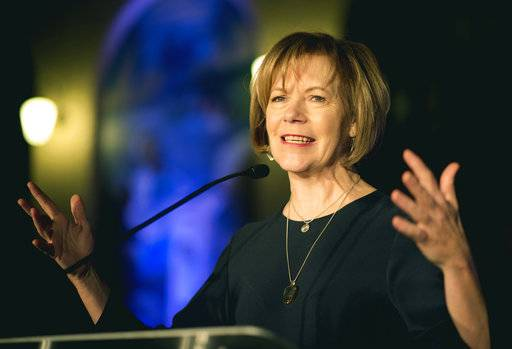 FILE - In this Jan. 10, 2015, file photo, Minnesota Lt. Gov. Tina Smith speaks in St. Paul, Minn. Tina Smith, who was appointed to replace Al Franken following his resignation over accusations of sexual misconduct will be sworn in on Jan. 3, 2018. (Aaron Lavinsky /Star Tribune via AP, File)